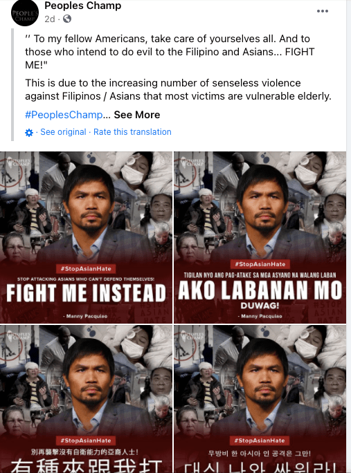 Global Icon Manny Pacquiao speaks up for all Asians on #StopAsianHate