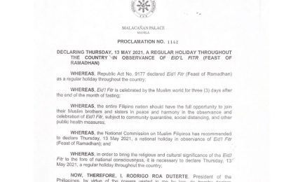 May 13 declared regular holiday in observance of Eid'l Fitr