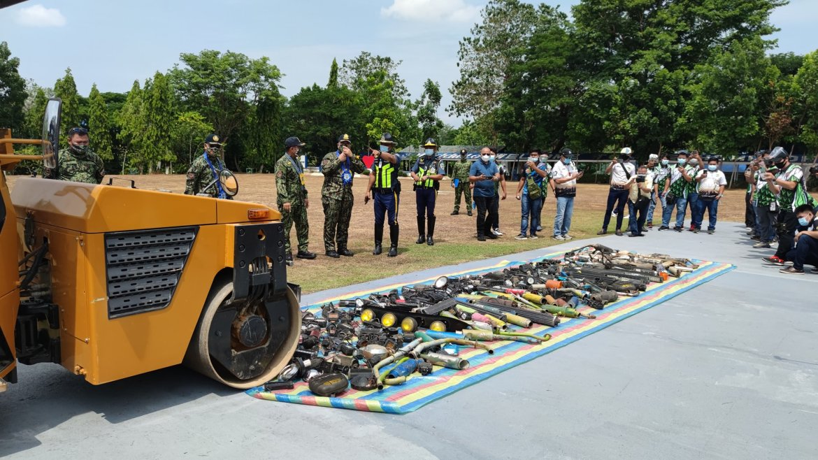 PNP R2 h'way patrol unit destroys confiscated illegal accessories from motor vehicles