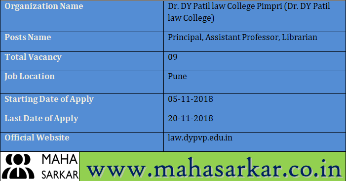 Dr  DY Patil law College Recruitment 2018 Apply Offline For