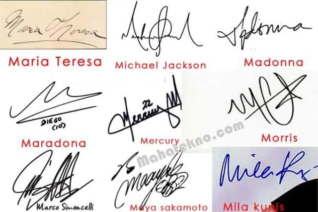 signature huruf m