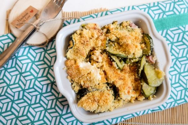 Crumble salé sans beurre Courgettes, Chèvre & Lardons Ma Healthy Tendency