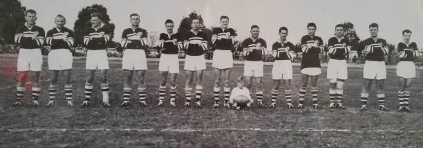 Harden 1958: Harry Melville (captain), Les Gillard, Don McKenzie, Lindsay 'Horse' Ellison, Gerry Robertson, Bob 'Lofty' Blundell, Les 'Punchy' Jennings, Eric Kuhn, Fred 'Frog' Woods, Peter Burns, Tom 'Bristles' Apps, and Larry Steele.