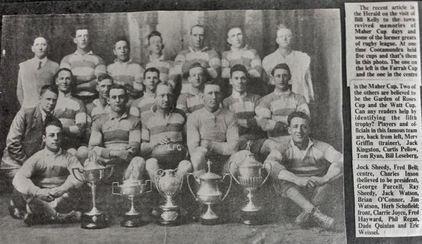 Jack Watson is the 3rd player from left in middle row. Jim Watson is 2nd from right in the same row.