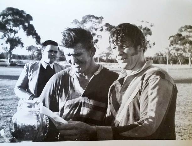 Ron Crowe (then at Barmedman) and John Lomax (Harden) after Barmedman's final Maher Cup match in 1971.