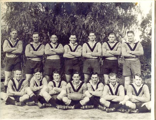 Gundagai premiership winning team of 1946. Back: Neville Asimus, Ralph Attwood,Leo Tutty, Eric Castles, Jim Thomas, George Ballard, Dal McCarthy. Front: Jack Goodsall, Ric Nicholls, Vince Sullivan, Ron O'Connell (Captain Coach), Eric Nuttall, Paddy Ryan, Noel Goodsall. (Source - Gundagai Library via Lost Gundagi on Facebook) Patrick Sullivan was able to assist with names.