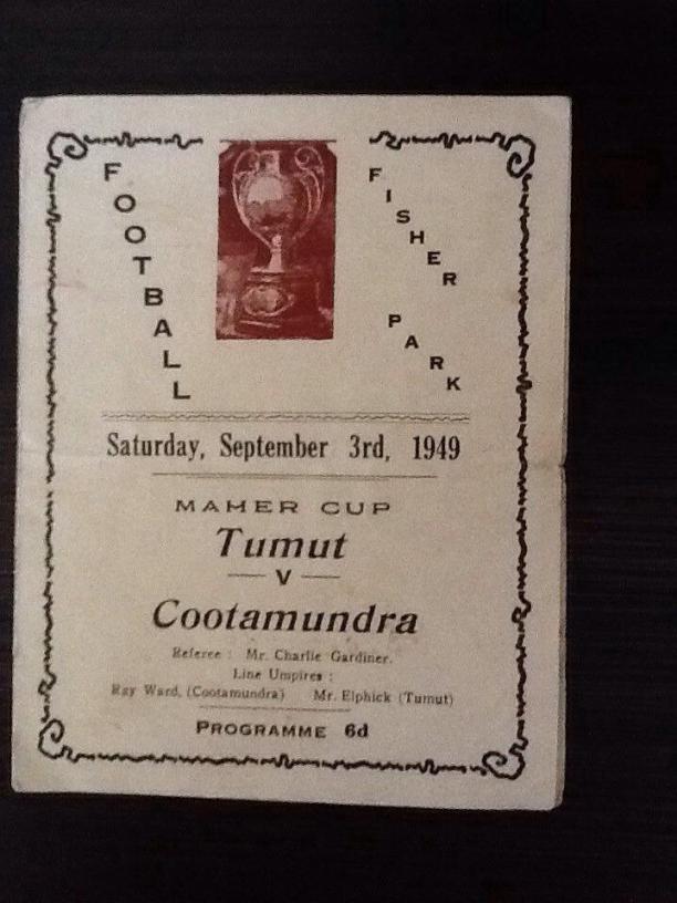 Tumut v Cootamundra Program 3 September 1949. Coota won 37-5.