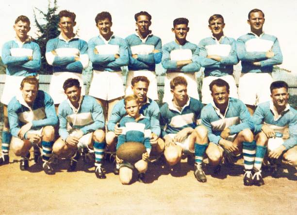 Wal Galvin standing 3rd from left in a 1955 Cootamundra team.  Source: Wally Galvin collection