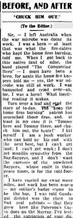 Letter from an unemployed Digger. Gundagai Independent 1 Aigsut 1921
