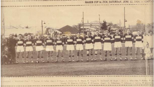 More than 4000 saw Cootamundra defeat Young. Players from left: Darrell Fazio, Algie Metcalfe, Kevin Slavin, Kevin Negus, Roley McDonnell, Merv Ryan, Ian Reid, Lionel Wheatley, Peter Kirkby, Fred de Belin, Mick Howse, Keith Henniker, John Graves (captain-coach)