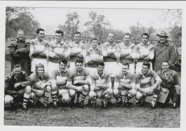Thought to be the team that defeated Gundagai for the Maher Cup in 1958 and should include: Brian Hawkins, Ernie Williams, Darrell Fazio(c), Ron Turner, Bill Bell, Bob Bell, Ken Bell, Bryan O'Connor, Trevor Moore, Sid Winters, Kevin Chuck, Ross Warner, Jack Slavin