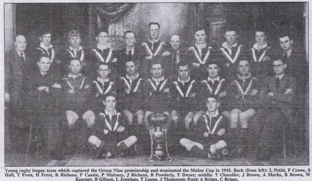 Sid Hall aged 43 wearing his cap in the Young Maher Cup winning team of 1945.
