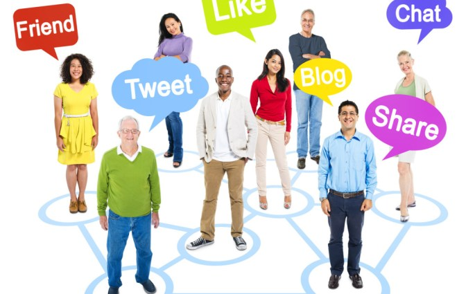 Group of Multi-Ethnic Socially Connected People with Speech Bubbles Above Them