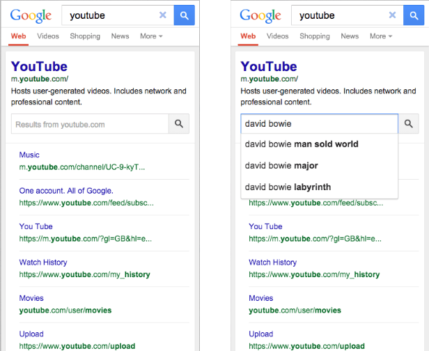 An improved search box within the search results
