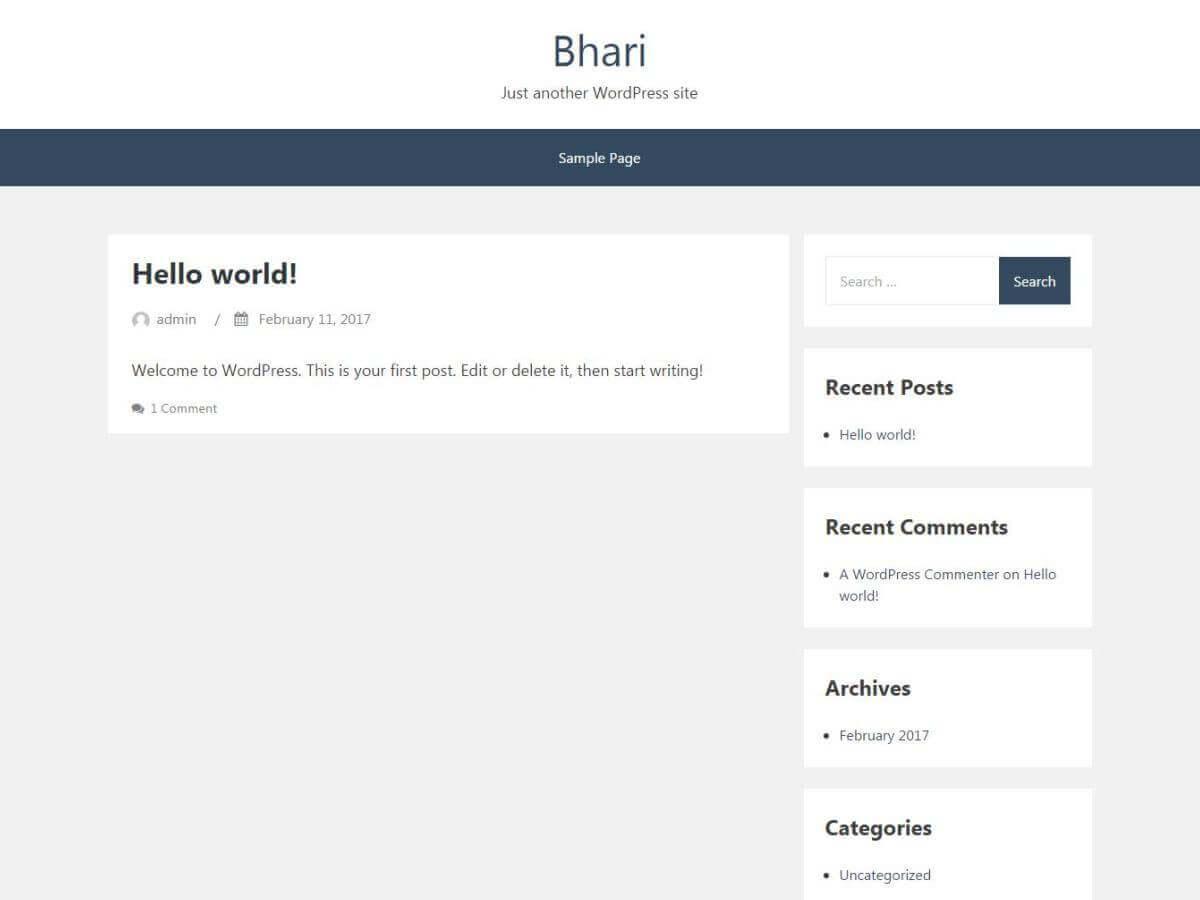 Bhari WordPress theme for the bloggers