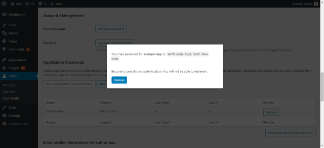 Application password successfully created popup.
