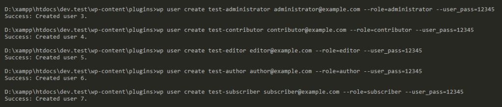 Create multiple user roles with WP CLI command.
