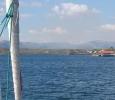 Insegling till marinan utanför Santiago
