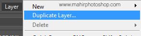 menduplikat layer dengan menu