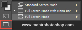 toolbar screen mode