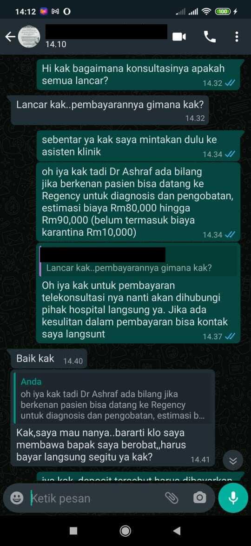 Testimoni Pasien Konsultasi Virtual di RS Regency Specialist Hospital Johor Bahru, Malaysia
