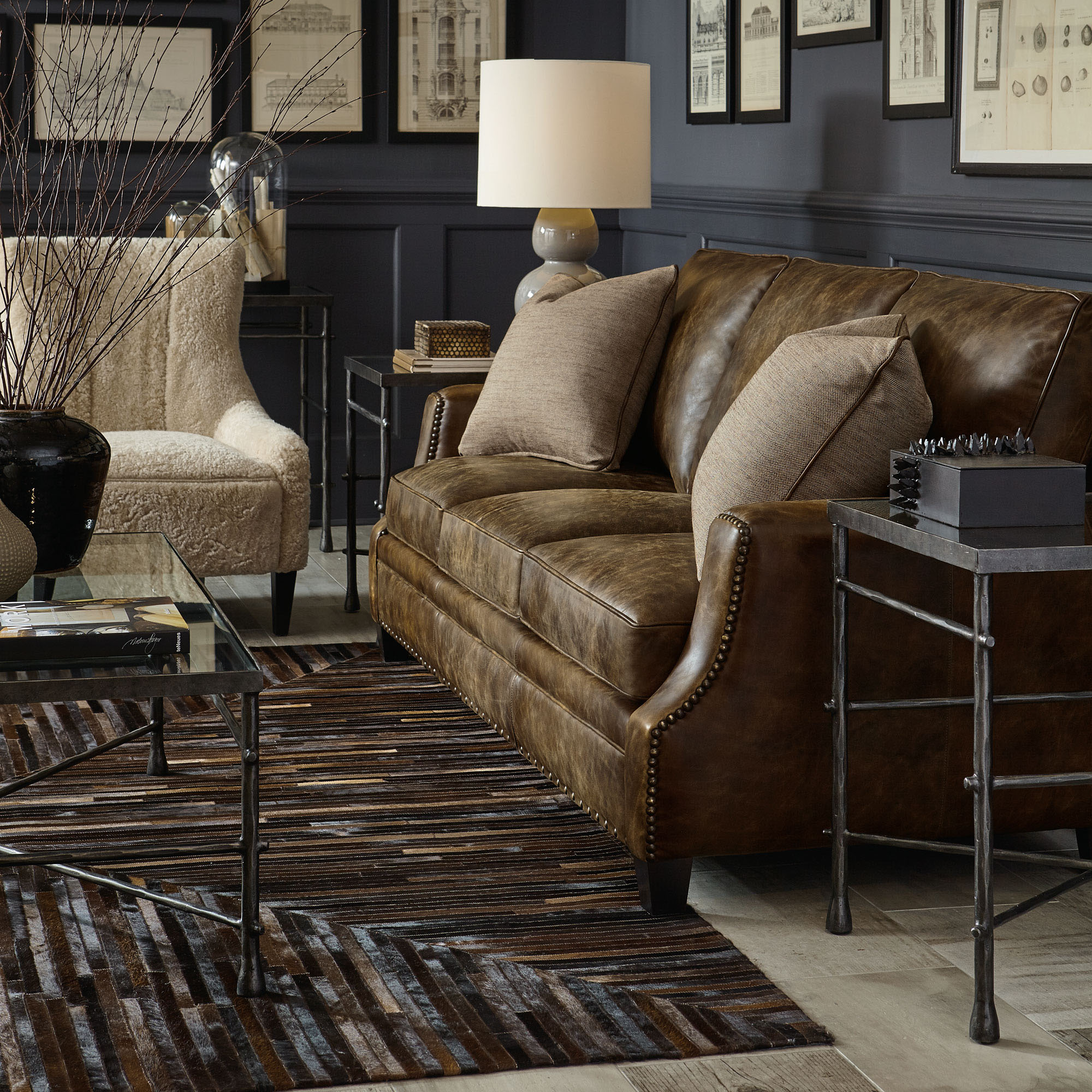 bernhardt brown leather club chair fold up traditional sofa auctions buy