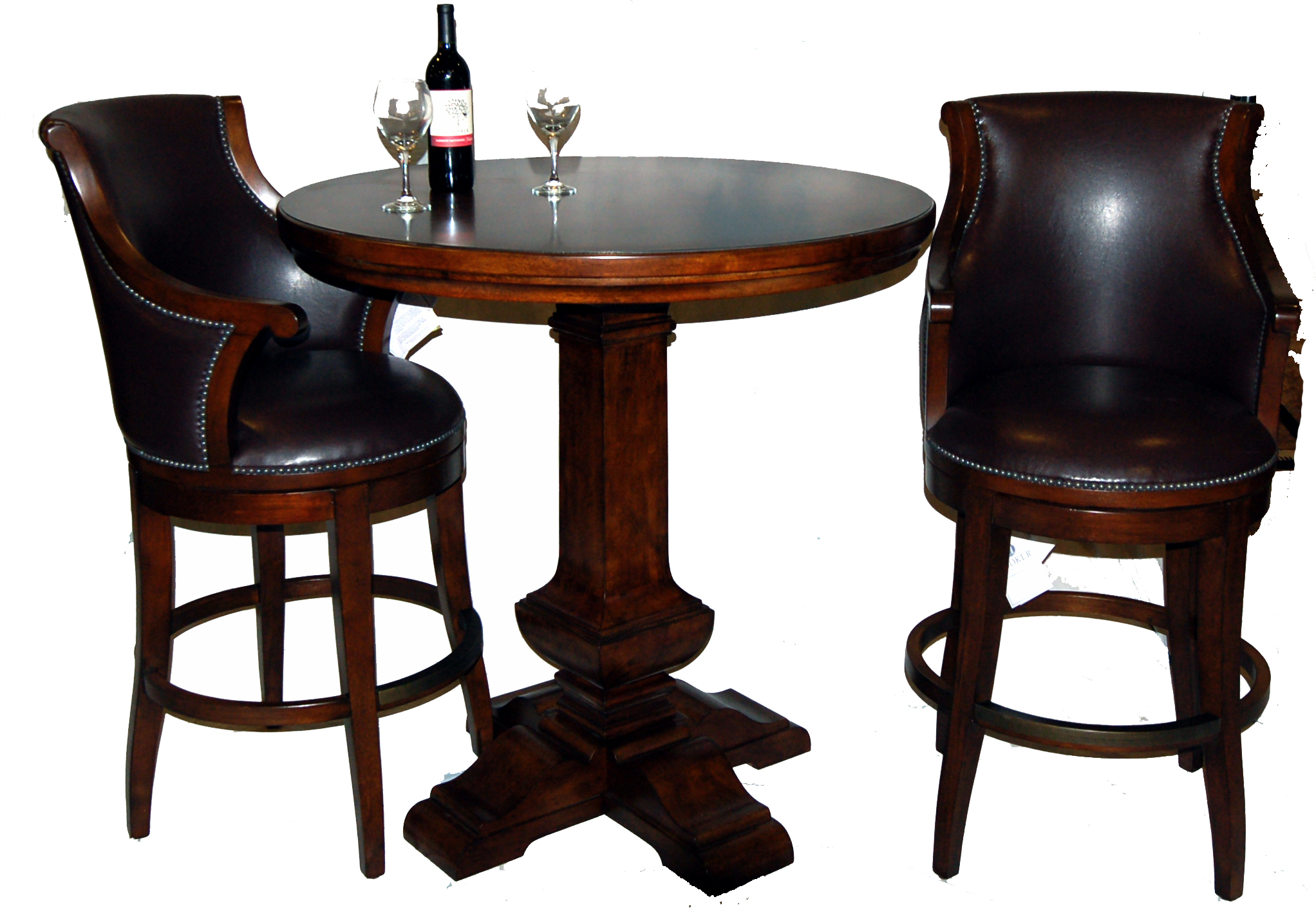 3 Piece Bar Table and Leather Swivel Stool Set