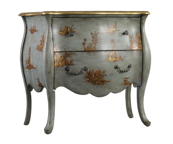 Hand Painted Two Drawer Accent Bombe Bombay Chest