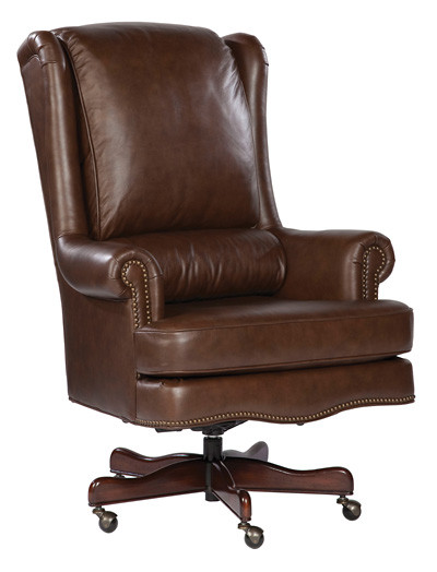 Coffee Genuine Leather Executive Office Desk Chair  eBay
