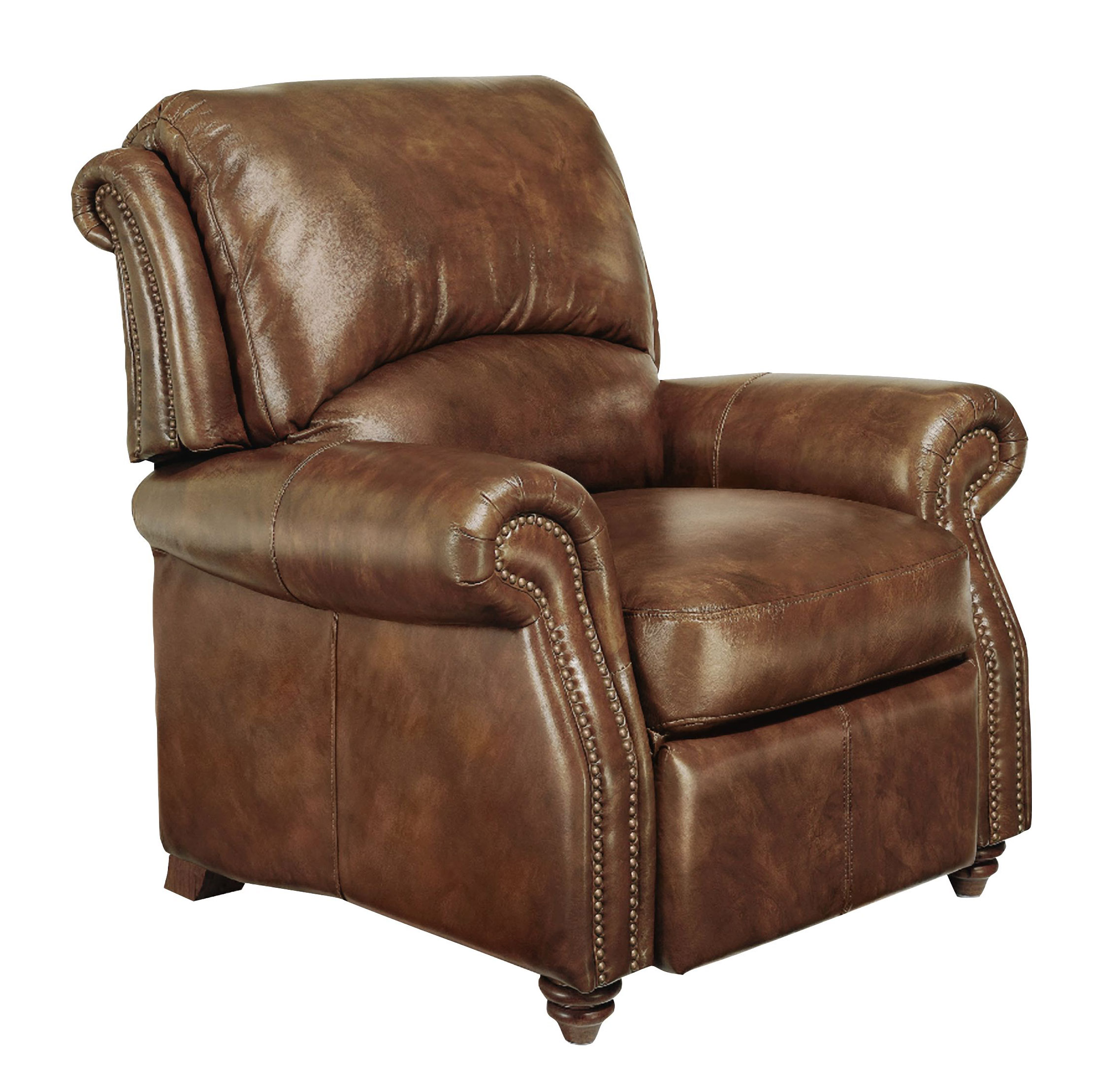 Leather Club Chair Traditional Genuine Top Grain Brown Leather Reclining Club