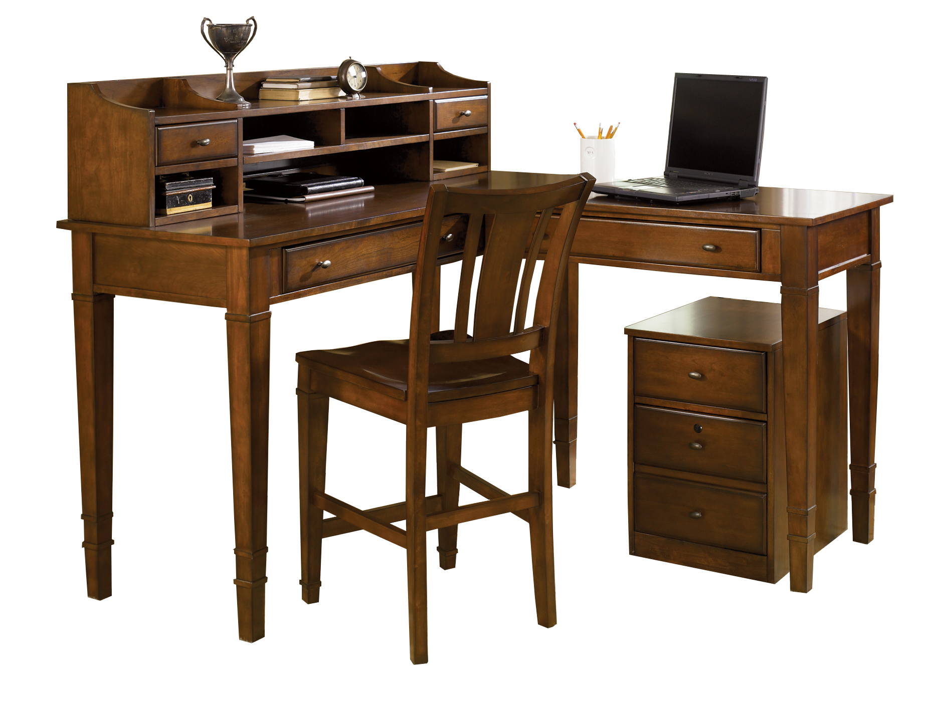 5 Piece Counter Height Corner Office Desk Set
