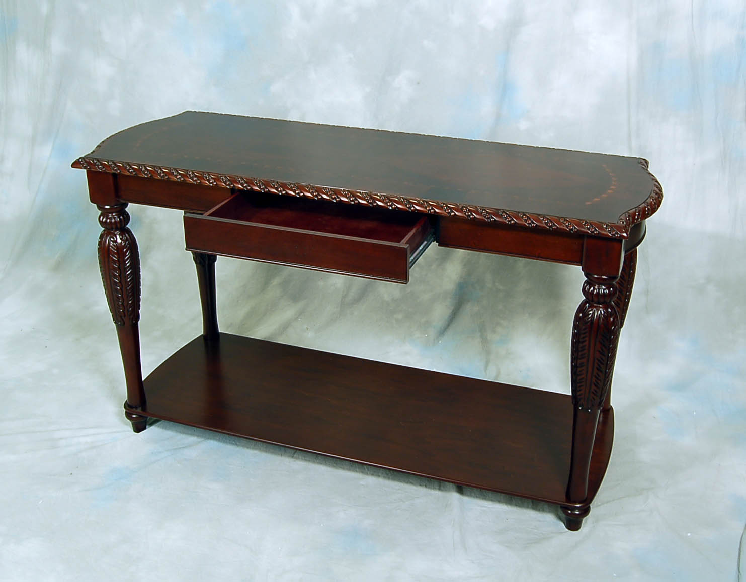 sofa table ebay sectional sleeper crate and barrel carved brown mahogany