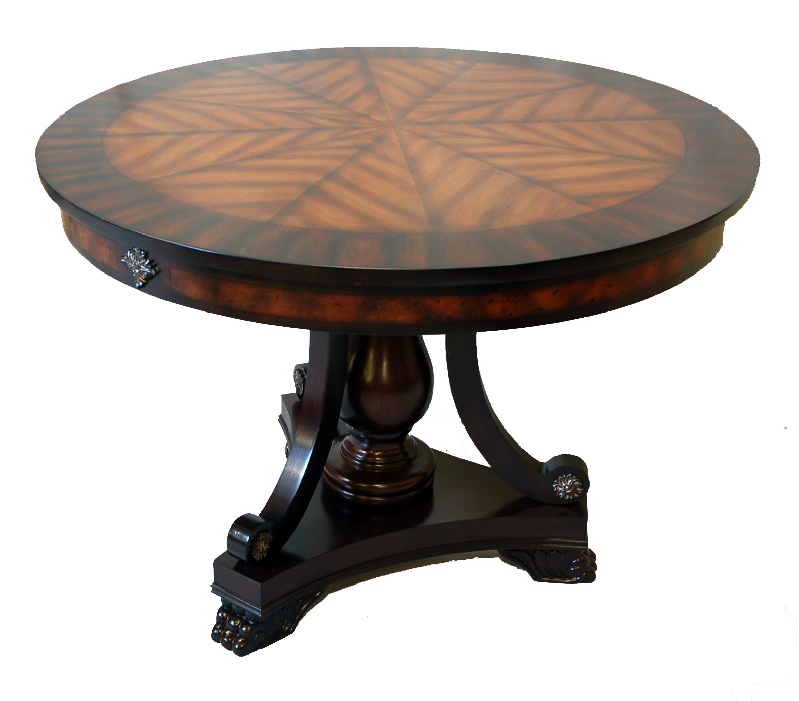 42 Round Painted Walnut Foyer Entry Table