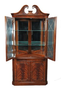 Victorian Mahogany Wood Corner Display China Curio Cabinet