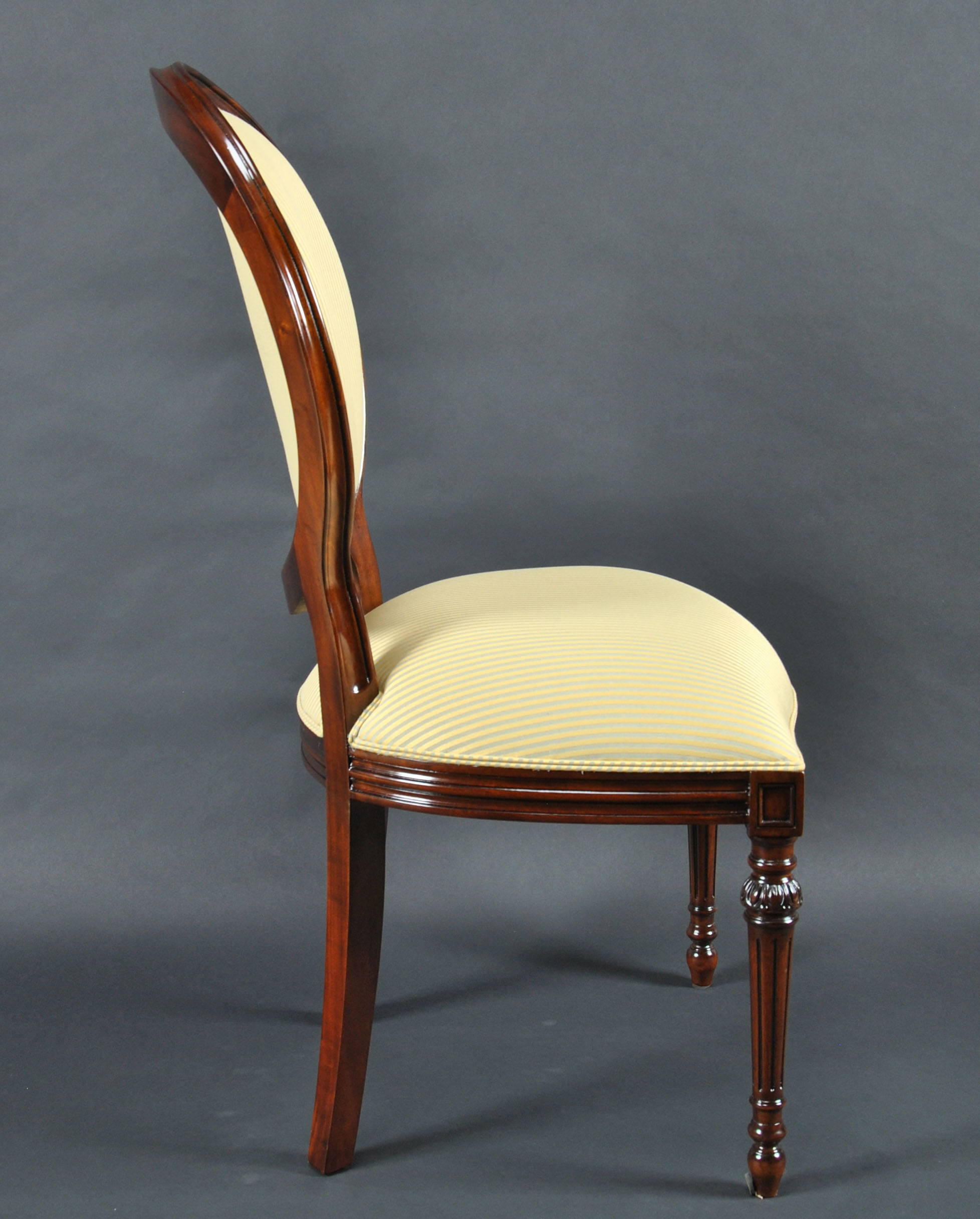 Upholstered Side Chairs Set Of 8 Upholstered Oval Back Mahogany Wood Classic