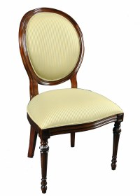 Set of 8 Upholstered Oval Back Mahogany Wood Classic