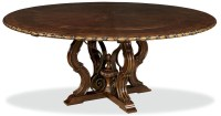 """Unique Cherry 76"""" Round Dining Table with Leaves"""