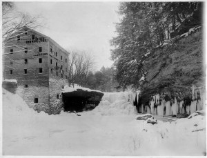 2007-78-23 Lantermans Mill and Falls in winter b x w version