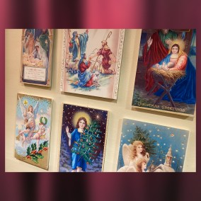 Religious iconography is a popular postcard motif. The nativity scene, angels, shepherds, and churches are common elements.