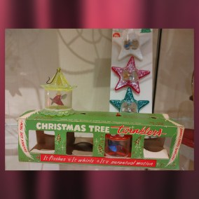 """Christmas Tree Twinklers"" were made by the Tinkle Toy Company, a division of Youngstown's Plakie Toy Company. Twinklers were placed directly above tree lights, allowing the heat generated from the light to spin the Twinkler.  Twinklers were invented by John Garver. Garver taught the sciences at Boardman High School. He also founded a tennis program there, which he coached. Garver had more than twenty inventions in his lifetime, many relating to sports, and several of which were patented.  <br><br>Gift of H. William Lawson, 96.56.15; Dean Hoover, 2004.63.124"