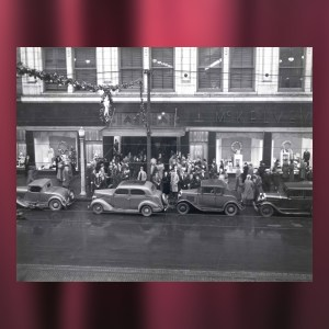 McKelvey's department store in downtown Youngstown is decorated for the holidays in the 1940s. Gift of Thomas J. Seifert, 88.107.37