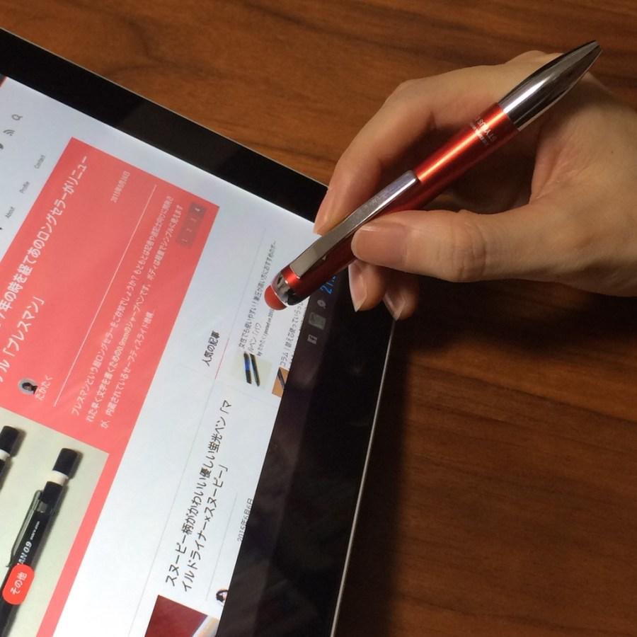 タッチペンもちゃんと書きやすい。「タッチペン付油性ボールペン スタイラスC1」