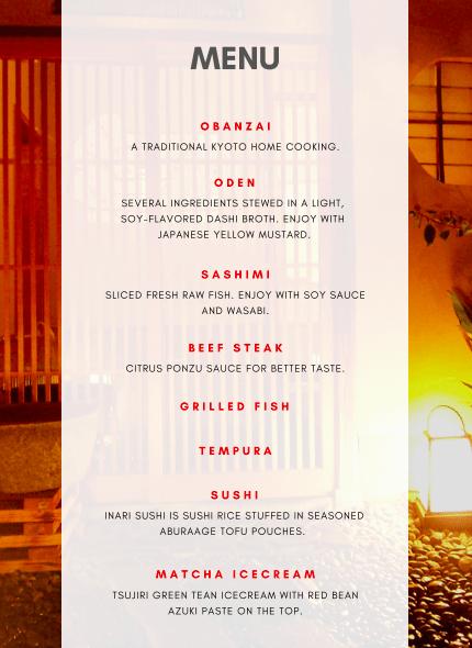 Geisha dinner menu