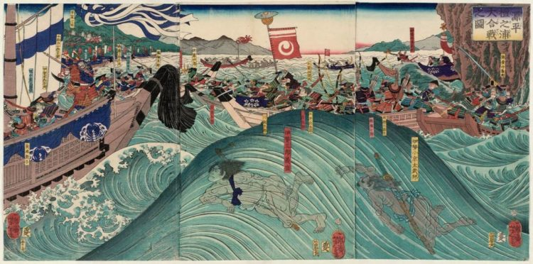 The genpei war (1180-1185) between the Minamoto and Taira clans.