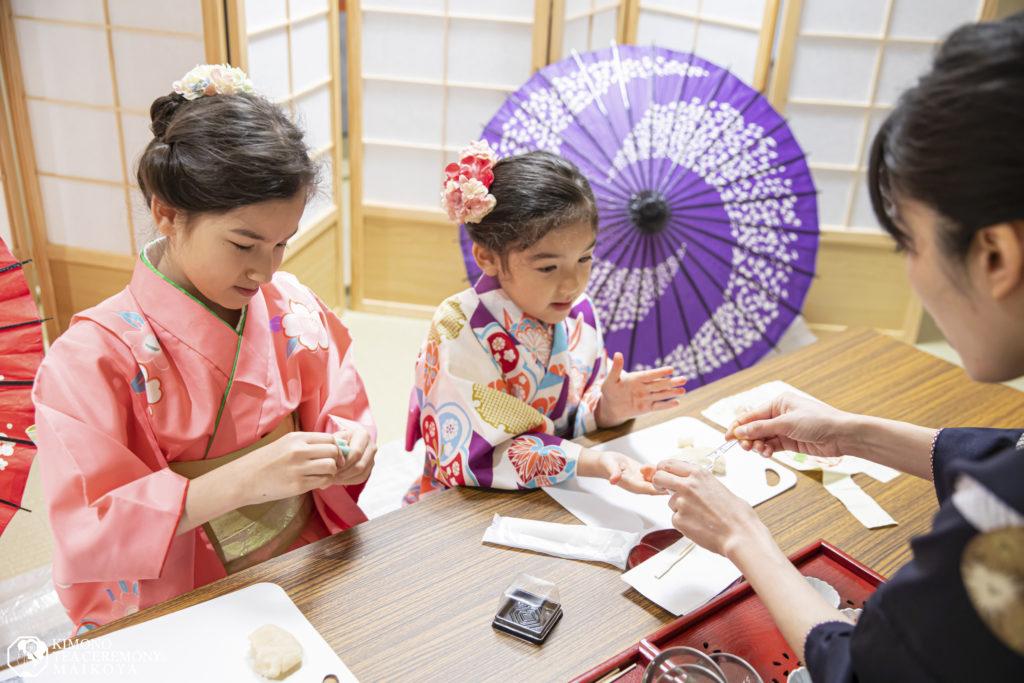 wagashi sweets making and kimono tea ceremony kids