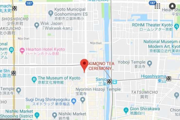 KIMONO TEA CEREMONY MAIKOYA KYOTO MAP