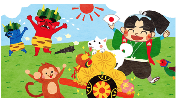 Momotaro beats the devils with the help of a monkey, a dog and a bird