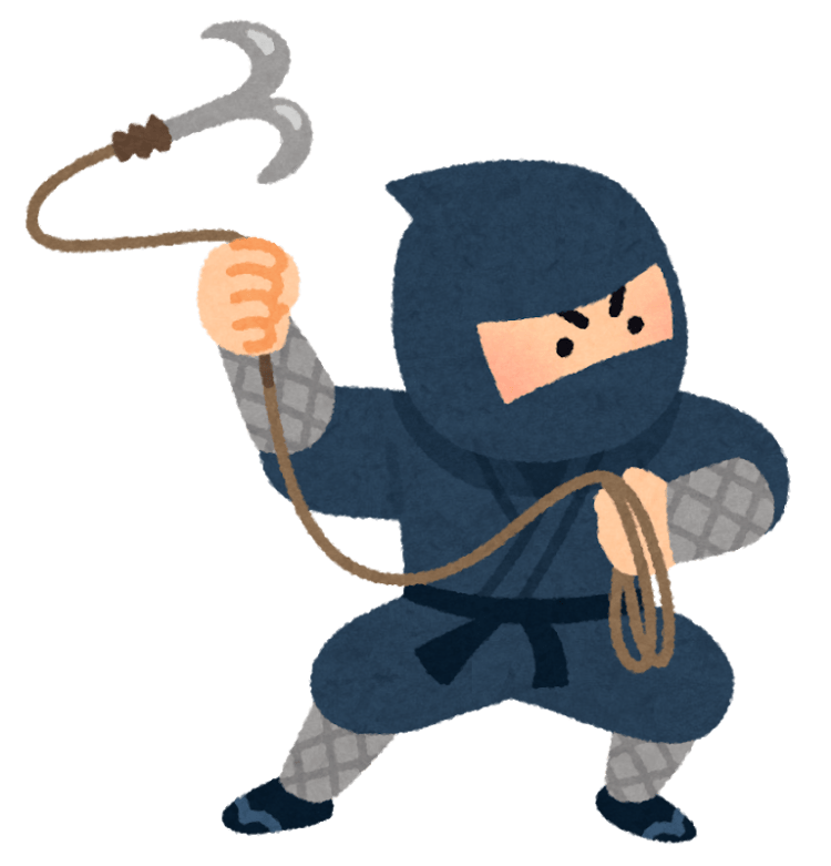 ninja holding kaginawa