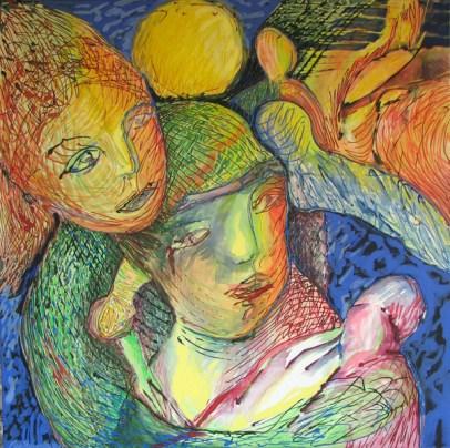 """Happy Parents"", 100 x 100 cm, acrylic on canvas, 2013"