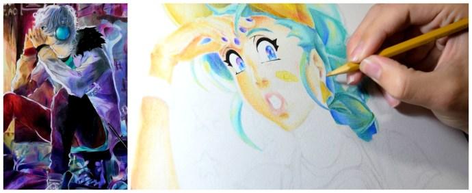 Treinamentos em lápis de cor feitos pelo aluno Lucas Miguel no curso de Quadrinhos.